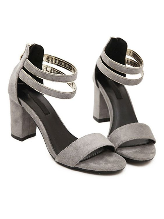 Gray Suedette Ankle Strap Chunky Heeled Sandals
