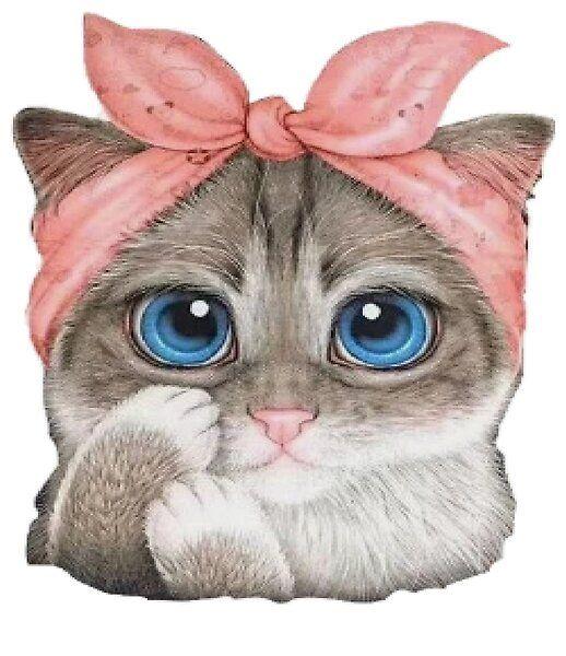Chat Mignon Au Bandeau Rose Par Yasminejr Redbubble En 2020 Dessins Disney Mignons Dessins Mignons Chat Mignon