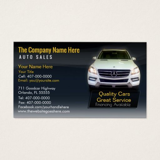 Car Dealership Auto Sales Associate Business Card Car Dealership