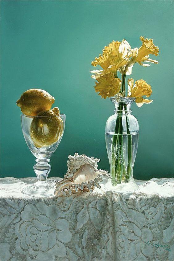 Yingzhou Liu  (b.1956)   — Lemons, Shell and Daffodils  (669x1000):