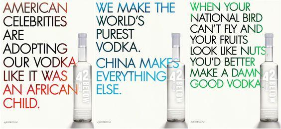 Great copy for 42 below NZ Vodka.