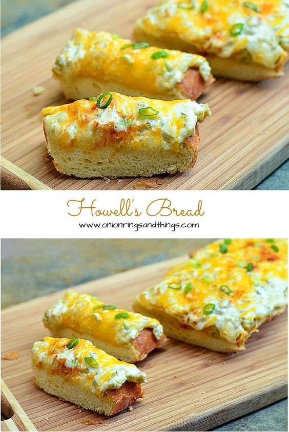 Howell's Bread is a delicious appetizer made with loaf bread topped with mayonnaise, roasted chili peppers and gooey cheese