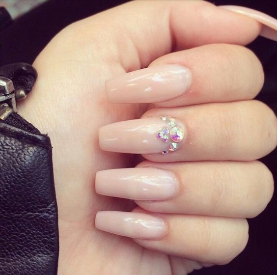Nude Square Tip Acrylic Nails w/ Rhinestones: