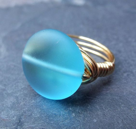 Sea Glass Ring: Sky Blue Gold Wire Wrapped Ring, Beach Glass Jewelry, SherryKayDesigns Etsy mtcstaff