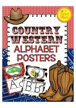 Alphabet Posters~Country Western   Give your classroom a country style with these delightful Country Western Alphabet Posters. A poster for every letter of the alphabet with every letter framed in a lasso!   THESE POSTERS WILL BE PART OF A COUNTRY WESTERN DECOR SET, AND BUNDLED ONCE COMPLETED:) Follow Tweet Music on Facebook for announcements on completion.