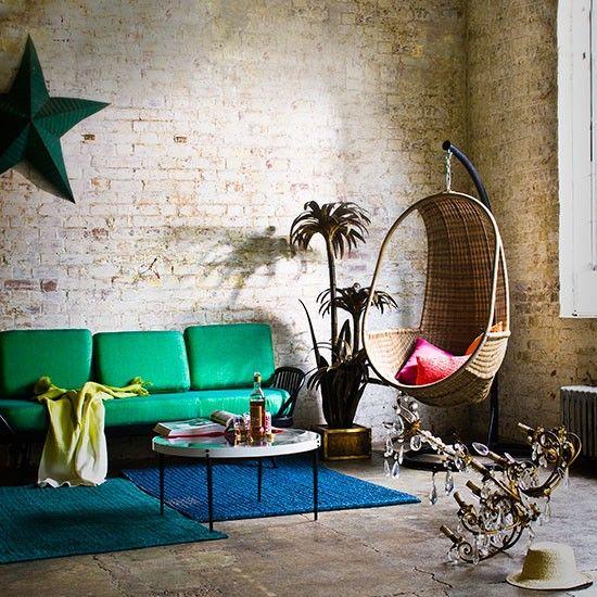brick living room with green sofa modern living room ideas living room photo brick living room furniture