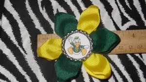 Sporty Bottlecap Flower NCAA Oregon Ducks Hair Bow ~ Free Shipping Price: $4.00
