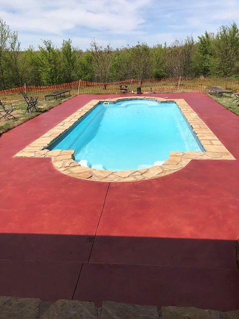 Antiquing Concrete Stain Concrete Stain Patio Pool Landscaping Pool Deck Ideas Inground
