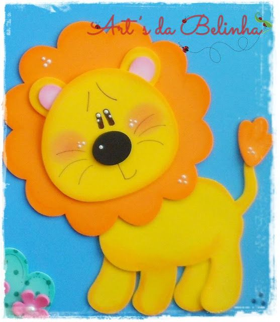Die Cut Wild Animal Craft Embellishments pack of 6 Felt Lions