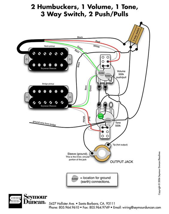Guitar Wiring Diagram 2 Humbucker 1 Volume 1 Tone from s-media-cache-ak0.pinimg.com