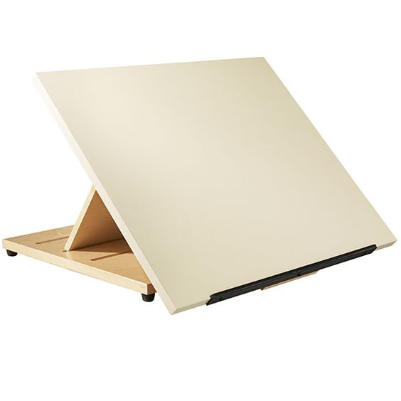 "Shain's Portable Drafting Table is ideal for classrooms or studios that are tight on space. It features a 24"" x 20"" drawing surface made of smooth plastic laminate. A pencil ledge supports drawing materials and sketch pads. The notched solid maple base positions the tabletop at a 30, 45 o"