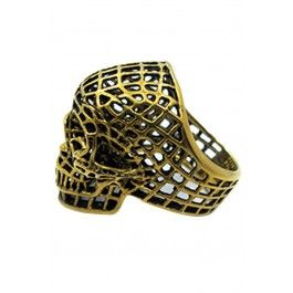 Mesh Skull Ring - Gold