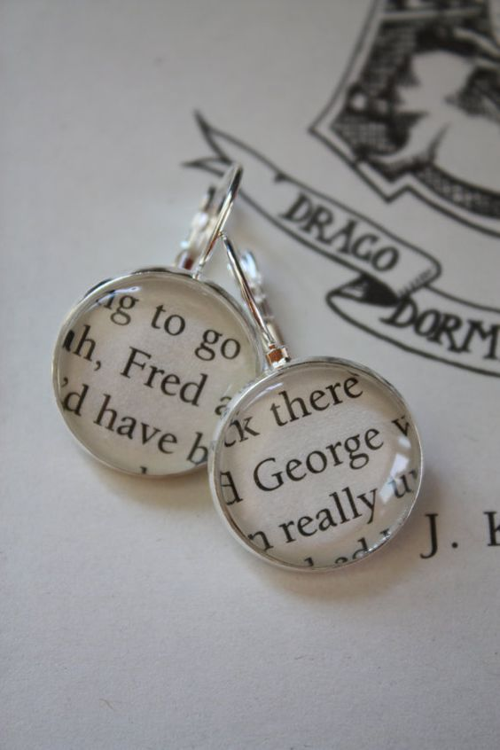 Harry Potter 'Fred' & 'George' Earrings by PrettyLittleCharmsUK on etsy  If you like these, I suggest you check out the rest of their shop! They have a lot of similar items like The Keeper of Keys.