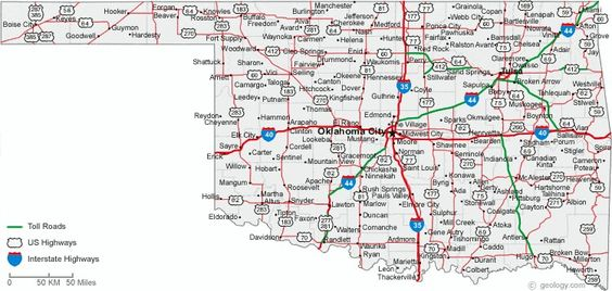 Map Of State Of Oklahoma With Outline Of The State Cities Towns - Oklahoma usa map