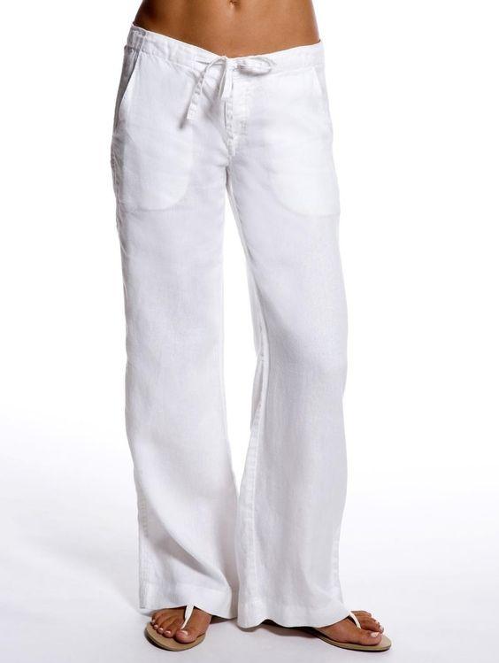 White Relaxed Linen Pants Women S Resort Wear Island