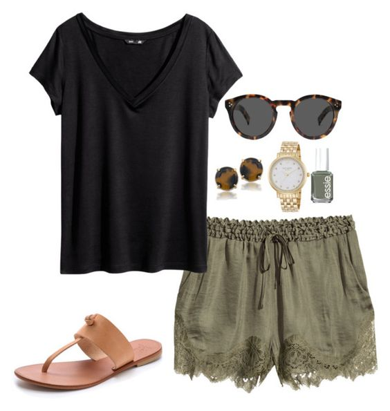 """green shorts"" by kcunningham1 ❤ liked on Polyvore featuring H&M, Joie, Illesteva, Kate Spade, Essie and Carolee:"