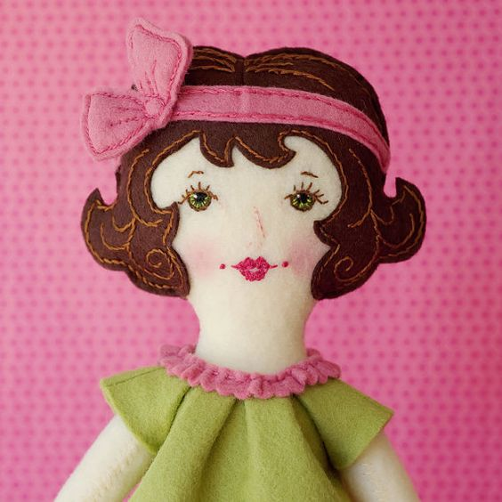 "LolliDolls $22.21 Grace - PDF Pattern Wool Felt Doll via Etsy 17"" tall made of wool blend felt with an embroidered face. not intended for children under 3 years of age."