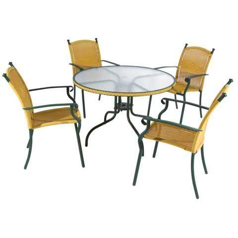Saco Everything For Everyone طقم للحديقة طاولة من الحديد والزجاج مع 4 المفروشات الخارجية الأثاث الخارجي Saco Everyth Furniture Outdoor Furniture Home Decor