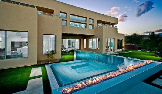 15 Dramatic Modern Pool Areas with Fire Pits | Modern pools, Modern and  Swimming pools
