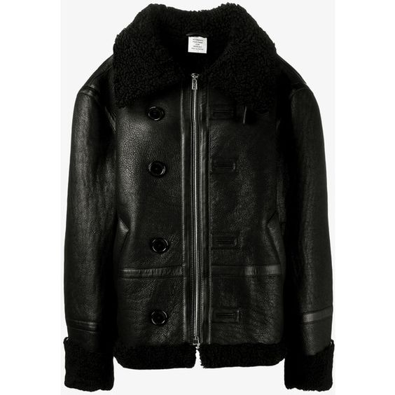 Vetements Shearling Lined Leather Jacket (£2,735) ❤ liked on Polyvore featuring outerwear, jackets, black, 100 leather jacket, oversized jackets, zip jacket, zipper jacket and genuine leather jackets