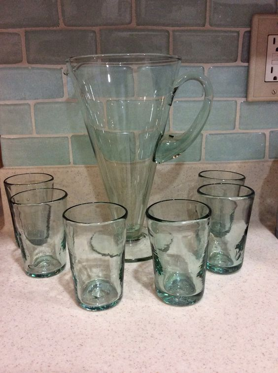 Recycled glass pitcher & glasses set