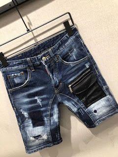 Dsquared2 Men/'s Washed Denim Stitching Shorts Stretch BLUE DSQ DS2 D2