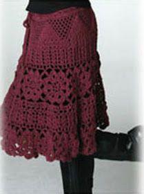 crochet dress patterns for women   ... Crochet: Falda en tinto   Free pattern skirts & dresses