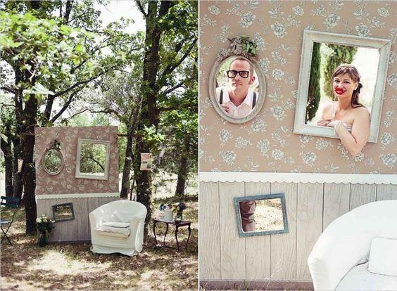 Idea original para tu photocall pared con cuadros estilo vintage boda photocall pinterest - Photocall boda casero ...