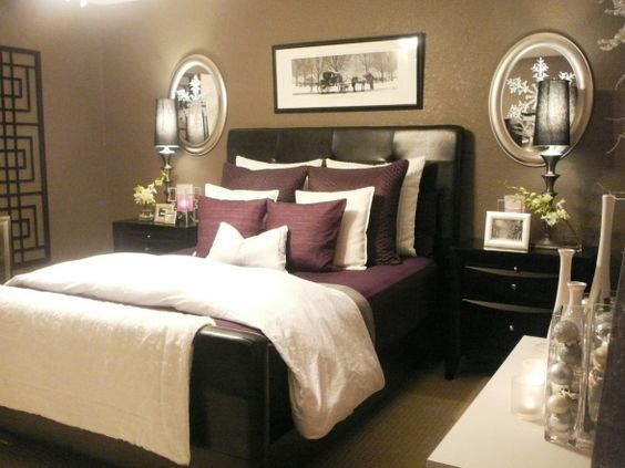 serene master bedroom with purple accents