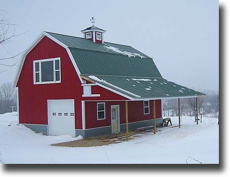 Gambrel the o 39 jays and red barns on pinterest for Gambrel pole barn plans