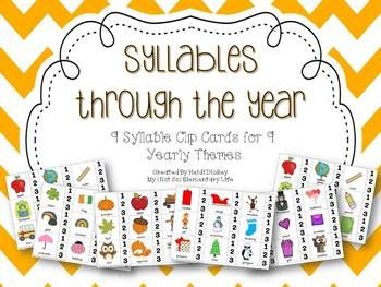 Syllables through the year: Syllable clip cards with various themes for the whole year. A great center activity