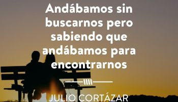 Adábamos sin buscarnos pero sabiendo que andábamos para encontrarnos - Julio Cortázar