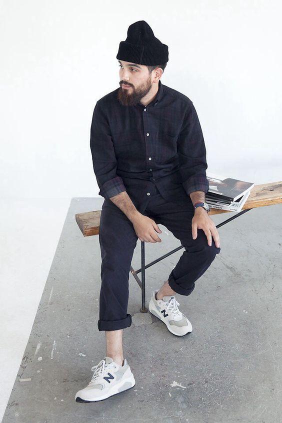 Hat beard shirt beanie Style tumblr men sneakers