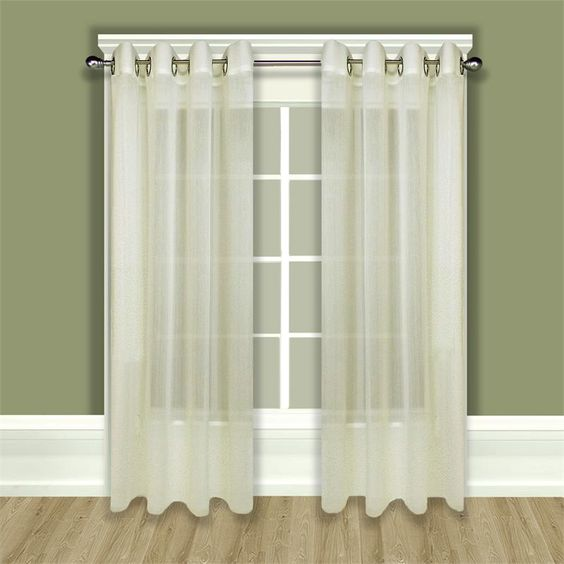 Curtains Ideas curtains double width : Tergaline Sheer Grommet Curtain Panel in Ivory or White ...