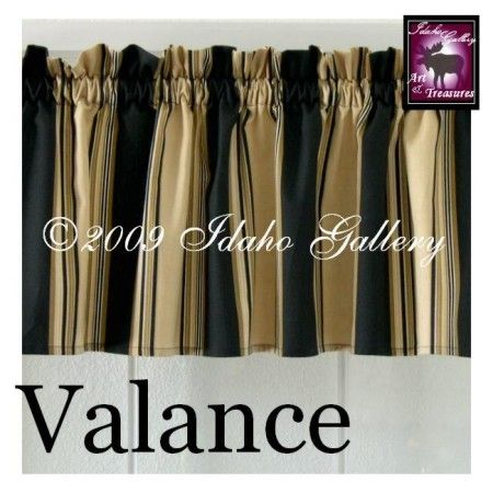 Home Decor Black Tan Cream Stripe Short Valance Curtain By Idaho Gallery Valance Curtains