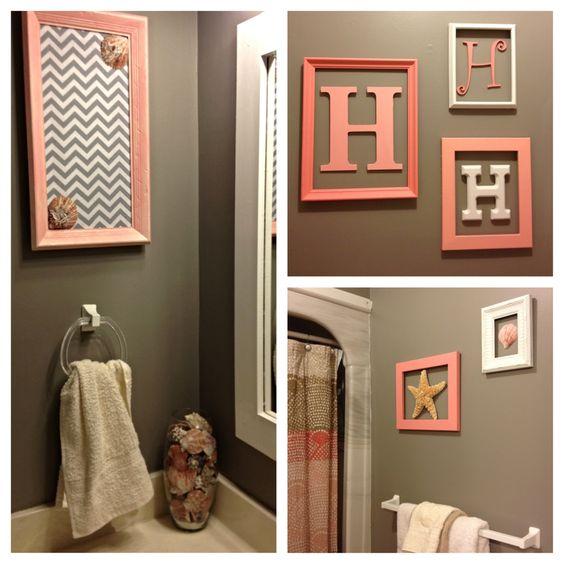 our new beachy bathroom! monogram wall. pink, tan & grey.
