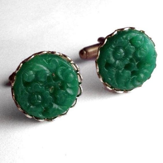 Green Glass Cufflinks  Ornate Silver Metal Bezel by Lynx2Cuffs, $17.99