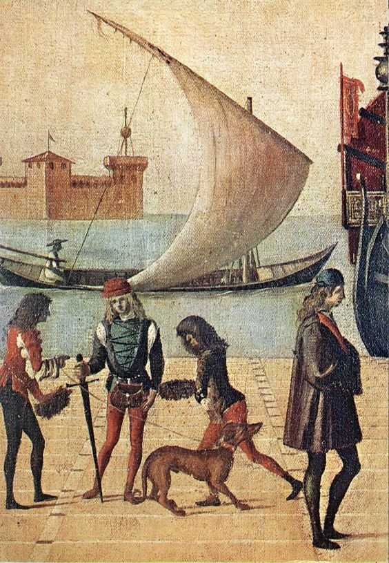 CARPACCIO, Vittore Arrival of the English Ambassadors (detail) 1495-1500 Tempera on canvas Gallerie dell'Accademia, Venice