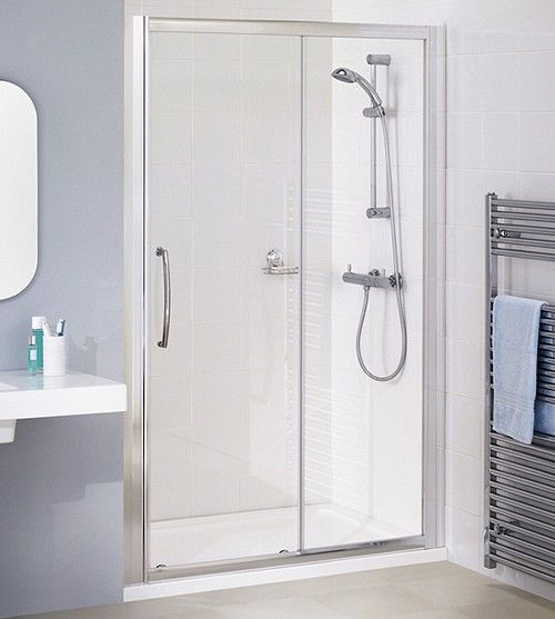 Semi Frameless Slider Shower Door In Silver Size 1200mm 283 At Taps4less With Free Delivery Shower Doors Sliding Shower Door Frameless Sliding Shower Doors