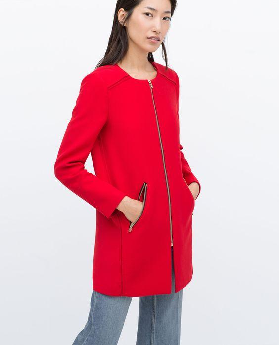 ZIPPED ROUND NECK COAT - Outerwear - WOMAN - SALE | ZARA United