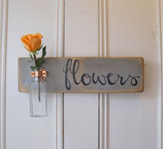 Hanging Wall Flower Vase, Antique Bottle, Flowers, Copper Hanger, Spring, Home Decor, Gray Chalk Paint, $39.95
