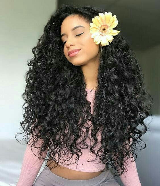 Pretty Dark Haired Girl With Super Long And Thick Beautiful Curls