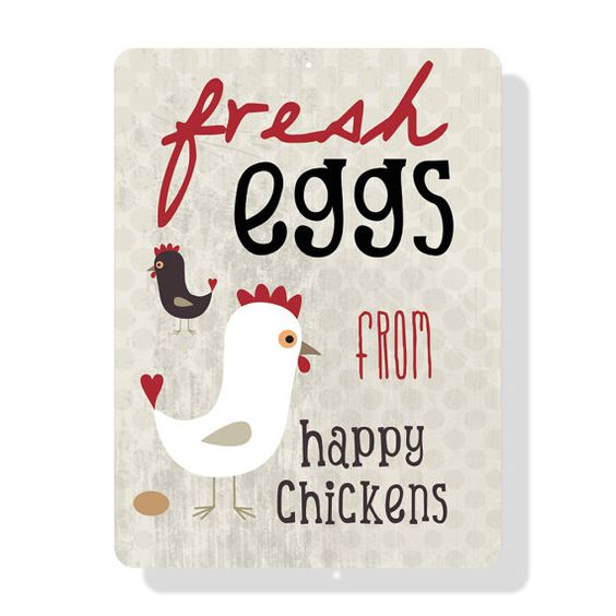 Fresh Eggs from Happy Chickens Sign  9X12 by BainbridgeFarmGoods