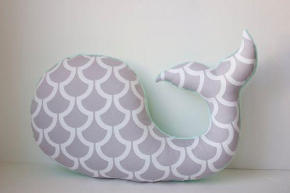 Modern whale pillow seafoam opal mint grey gray por LilKingdom