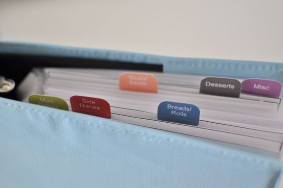 free printable recipe tabs for mini binders
