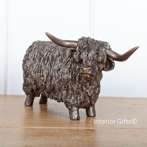 Bronze Tone Resin Highland Cow Figurine Decorative Ornament