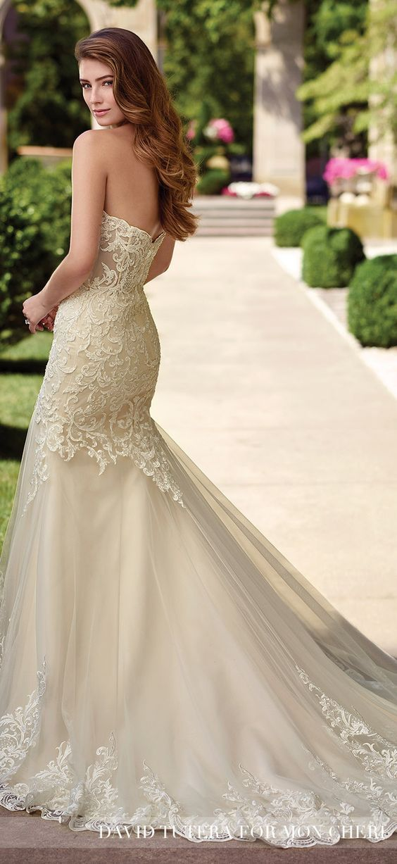 Embroidered Sweetheart Fit and Flare Wedding Dress