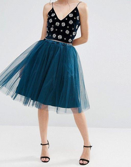 True Decadence Petite | True Decadence Petite All Over Tulle Full Midi Skirt