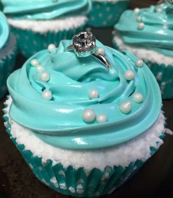 Diamond ring topped cupcakes at a Tiffany bridal shower party! See more party planning ideas at CatchMyParty.com!