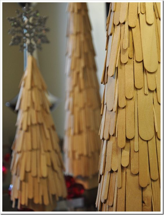 Popsicle Stick Christmas Trees - I really like the look of this....maybe glitter them too?